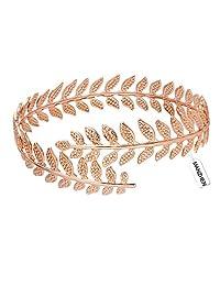 MANZHEN Fashion Gold-tone Swire Leaf Upper Arm Cuff Armlet Armband Adjustable Bangle Bracelet Adjustable