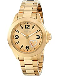 Invicta Womens 17933 Angel Gold-Tone Watch with White Crystal Heart on Dial