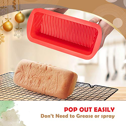 Silicone 2lb Loaf Tins Set of 2, Lorchar Loaf Tins for Baking, BPA-Free Bread & Loaf Tins , Silicone Loaf Tin, Non Stick Baking Tray, Bakeware Moulds Pan, 10.7 x 5.3 x 2.7inch