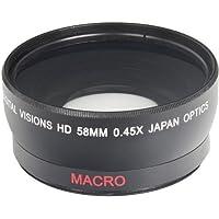 58MM Wide Angle 0.45x Converter Lens w/ Macro Close-Up Attachment for Canon EOS Rebel T6s, T6i, SL1, T5, T5i, T4i, T3, T3i, T1i, T2i, XSI, XS, XTI, XT, 70D, 60D, 60Da, 7D, 5D, 1D Digital SLR Cameras