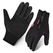 Cycling Gloves, SLB Waterproof Touchscreen in Winter Outdoor Gel Bike Gloves, Adjustable Size Full Finger Warm Gloves for Men Women fit to Sports Riding Driving Climbing SkiingFishing