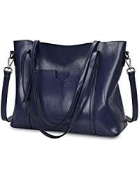 Women Genuine Leather Top Handle Satchel Daily Work Tote Shoulder Bag Large Capacity
