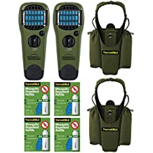 Thermacell Double Camper039;s Kit : 2 Mosquito Repellent Appliances (Olive), 2 Holsters, 4 Refills