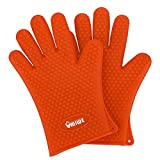 Umiwe Food Grade Silicone Waterproof Cooking and Grilling Gloves Heat Resistant BBQ Grill Baking Oven Gloves Potholder,1 Pair (Orange)