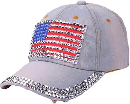 Women American Flag Rhinestone Jeans Denim Baseball Adjustable Hat Blue 9a859b2a8356