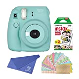 Fujifilm Instax Mini 8+ Instant Film Camera (Mint) with Instant Film, 2 x 10 Shoots (Total 20 Shoots) + Colorful Photo Frame Stickers 20 pcs. + withC Microfiber Cleaning Cloth