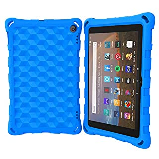 Fire HD 8 Case (10th Generation, 2020 Release),All-New Fire HD 8 Plus Tablet Case, Riaour Light Weight/Shock-Absorption/Anti Slip/High Impact Kids Case for All-New Fire HD 8 Tablet (Blue)