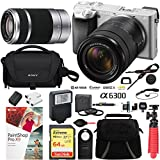 Sony a6300 4K Mirrorless Camera with 18-135mm & 55-210mm Lens (Silver) ILCE-6300M/S with Carry Case 64GB SDXC Memory Card Pro Photograpy Bundle