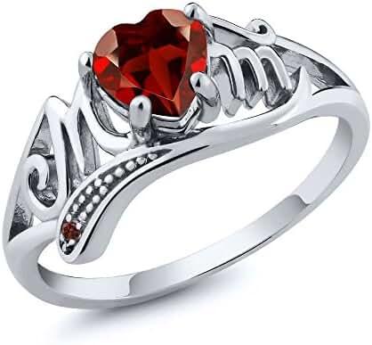 0.56 Ct Genuine Heart Shape Mothers Day Red Garnet Gemstone 925 Sterling Silver Mom Ring