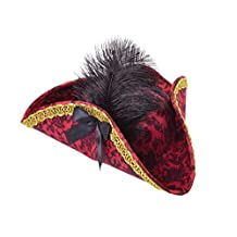 ADULT LADIES RED PIRATE TRICORN HAT WITH DECORATION FANCY DRESS ACCESSORY by Bristol Novelties