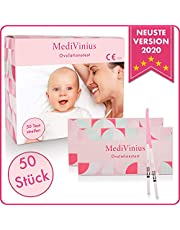 MediVinius Ovulationstest 50 Streifen - Fruchtbarkeitstest für Frauen - Teststäbchen für Ovulation Tests - Eisprung Teststreifen - praktisches Eisprung Messgerät LH Teststreifen