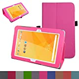 """Acer Iconia One 10 B3-A20 Case,Mama Mouth PU Leather Folio 2-folding Stand Cover with Stylus Holder for 10.1"""" Acer Iconia One 10 B3-A20 Android Tablet,Pink"""