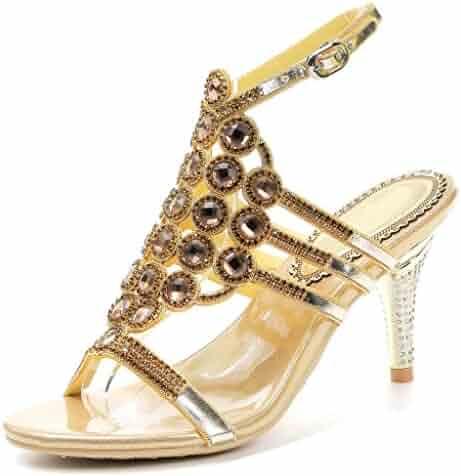 a100379cbdd705 LizForm Women Leather Embellished Sandal Heels Wedding Bride Bridesmaid  Party Sandals Shoes