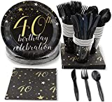 40th Birthday Party Supplies, Disposable Dinnerware Set (Serves 24, 144 Pieces)