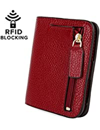 Women's RFID Blocking Small Compact Leather Wallet Ladies Mini Purse with ID Window
