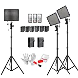 Aputure Amaran HR672KIT(HR672S + HR672W * 2) 672 Led Video Light Panel Studio Lighting Kit with 2.4G FSK Wireless Remote Control, Battery Pack and Pergear Clean Kit