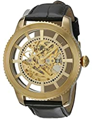 Invicta Mens Vintage Automatic Stainless Steel and Leather Casual Watch, Color:Black (Model: 22571)