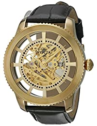 Invicta Men's 'Vintage' Automatic Stainless Steel and Leather Casual Watch, Color:Black (Model: 22571)