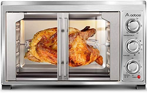 Toaster Convection Oven Countertop Aobosi Convection Toaster Oven Electric Rotisserie Oven Pizza Oven French Single Door Pull Bake/Toast/Roast/Heat 47QT/45L Extra Large 1500W Stainless Steel 27X19X20""