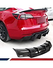 JC SPORTLINE Carbon Fiber Rear Diffuser fits for Tesla Model 3 Sedan 2016-2020 Bumper Cover Lower Lip Spoiler Valance Protector Body Kits Factory Outlet
