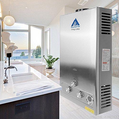 Ridgeyard 3.2GPM Water Heater 12L Digital Parade LPG Propane Gas Tankless Stainless Instant Boiler Hot Water Heater Boiler Burner Indoor Home Bathroom Supplies