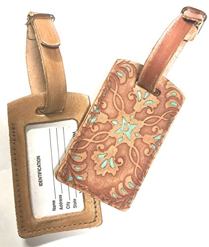Rustic Leather Luggage Tag in Western Style Turquoise with Name Plate Bag Tag – You choose the color