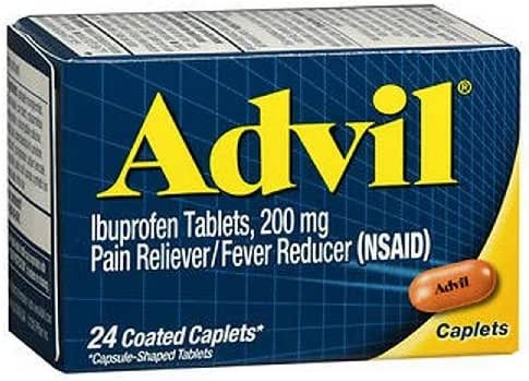 Advil Ibuprofen Coated Caplets Pain Reliever and Fever Reducer 200 Milligram 24Ct