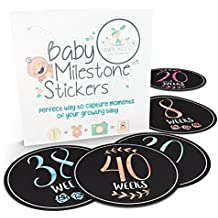Pregnancy Stickers - 16 Baby Belly Bump Weekly Milestone Sticker for Mom-to-be upto 40 Weeks with 4 Amazing Free Stickers - Perfect Gift Ideas for Women