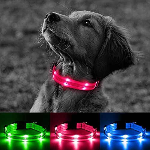 Candofly Rechargeable Light Up Dog Collars - Nylon Breathable LED Dog Collar Double Lights Glowing Pet Collars Perfect for Night Walking Keep Your Dogs & Cats Be Safe (Pink, Small)