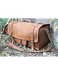 HLC Genuine Leather Handmade Vintage Duffel Luggage Travel Bag Duffel Gym Bag Yogo Bag Travelling Bag
