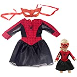 Mumu Play House Cos Spider Girl Doll Clothes: Red & Black Long Sleeve Zipped Spider Man Costume for 18 Inch Vinyl Dolls - 2Pcs Pack Include Mask And Dress