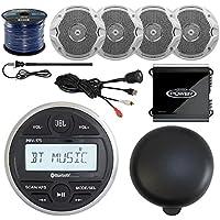 JBL PRV-175 Guage Style AM/FM USB Bluetooth Marine Radio 4 X 6.5 JBL Marine Speakers & Speaker Wire, Milennia Marine 2 Channel Amp, Enrock Universal USB AUX Input, Stereo Cover, Antenna (4 Speakers)