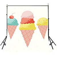 Lyly County 5 x 7 ft Colorful Ice Cream Backgrounds Kids Party Summer Club Photography Backdrop Studio Props Wall PB174