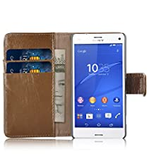 Xperia Z3 Case - Genuine Leather Wallet Cover for Sony Xperia Z3, Shabby Style Brown