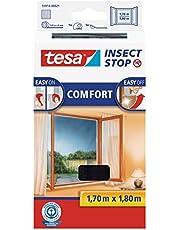 tesa Insect Stop Comfort Vliegenhor voor Ramen - Insectenhor, raamhor - Met klittenband - Snij uw eigen horraam op maat - Muggenhor, antraciet, 130 cm x 150 cm