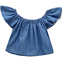 MIOIM Infant Toddler Baby Girls Summer Clothes Butterfly Short Sleeves Demin Casual Top T-Shirt Blouse