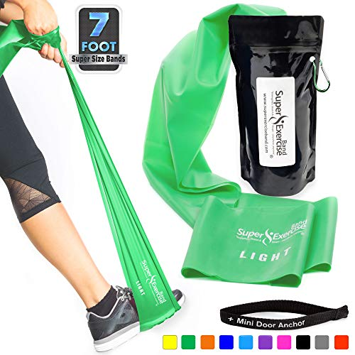 SUPER EXERCISE BAND Light Green 7 ft. Long Resistance Band and Door Anchor Set, Carry Pouch. Latex Free Home Gym, Fitness, Strength Training, Physical Therapy, Yoga, Pilates, Rehab, Chair Workouts.