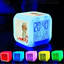 Alarm Clock 7 LED Color Changing Wake Up Bedroom with Data and Temperature Display (Changable Color) Customize the pattern-407.Vintage, Little Girl, Kitten, Pet