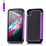 32nd® Shock proof dual defender case cover for Alcatel OneTouch Idol 3 mobile phone (5.5 inch version) + touch stylus - Purple