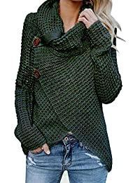 Womens Sweaters Casual Cowl Neck Chunky Cable Knit Wrap...