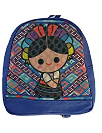 Mochilas Escolares para niña niños Back Pack diseño Artesanal Marias Mexicano colores pequeña (azul)