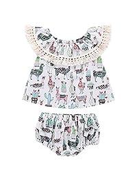 Genenic 2Pcs Baby Girls Llama Print Off Shoulder Tops+Shorts Summer Outfit Set