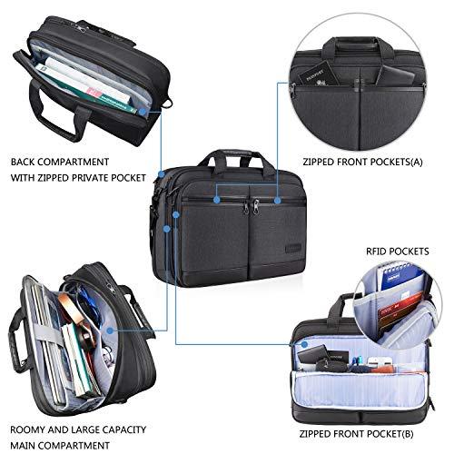 "KROSER 18"" Laptop Bag Stylish Laptop Briefcase Fits Up to 17.3 Inch Expandable Water-Repellent Shoulder Messenger Bag Computer Bag with RFID Pockets for Business/Travel/School/College/Men/Women-Black"