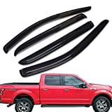 Lightronic WV94975 Vent Visor Rain Deflector 4 Piece Set for 2015-2018 F150,2017-2018 Ford F150 Raptor & F-250 to F-550 Super Duty with Super Crew Cab(4 Full-Size Doors)