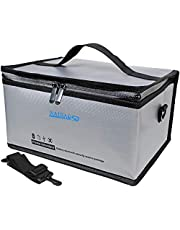 Fireproof Explosionproof Lipo Safe Bag for Lipo Battery Storage and Charging,Exclusive Charge Port & Bottom Insulation, Double Metal Zipper Large Bag(11 x 8 x 6 in)