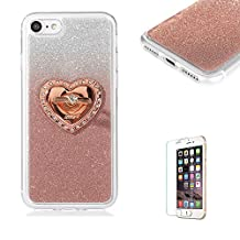 iPhone 4/4S Case [with Free Screen Protector], Funyye Luxury Bling Glitter Shiny Sparkly Crystal Clear Ultra Slim Thin Rose Gold Gradual Colour Changing with Love Hearts Ring Grip Holder Stand Protective TPU Soft Silicone Rubber Gel Bumper Case Cover for Apple iPhone 4/4S