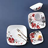 Corelle Boutique Square Chelsea Rose Chip Resistant Dinner Plate 10.5in (26.7cm) 6 Pack