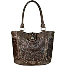 Montana West Trinity Ranch Tooled Leather Collection Handbag, Western Tote Style