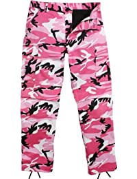 Camouflage Military BDU Pants, Army Cargo Fatigues (Pink Camouflage, Size 2X-Large)