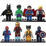 (Ferris wheel TH) Brand New 8 Pcs Superheroes Superman Batman Minifigures Building Blocks Sets Toy children's gift